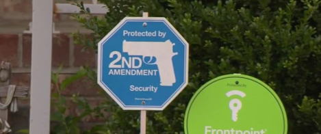 This sign was displayed in the front yard of the home where the shooting took place.